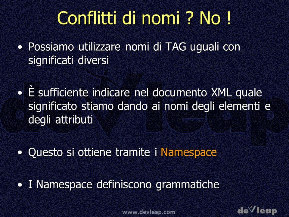 Conflitti di nomi No ! Possiamo utilizzare nomi di TAG uguali con significati diversi.