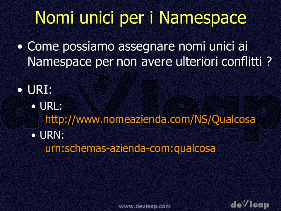 Nomi unici per i Namespace