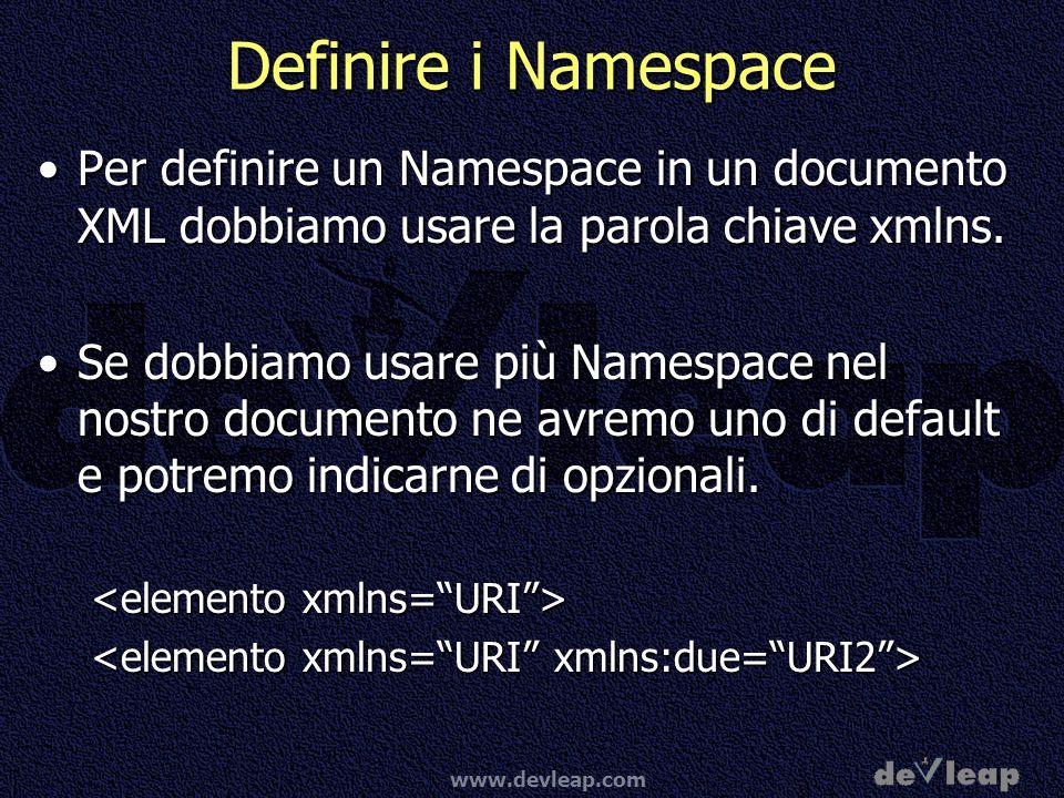 Definire i Namespace Per definire un Namespace in un documento XML dobbiamo usare la parola chiave xmlns.