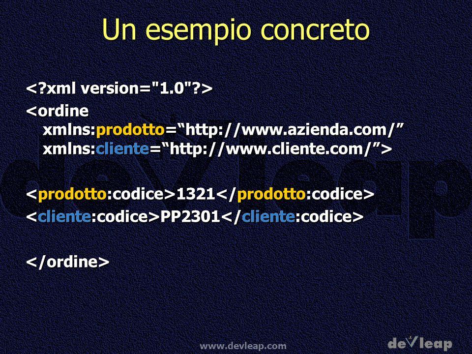 Un esempio concreto < xml version= 1.0 >