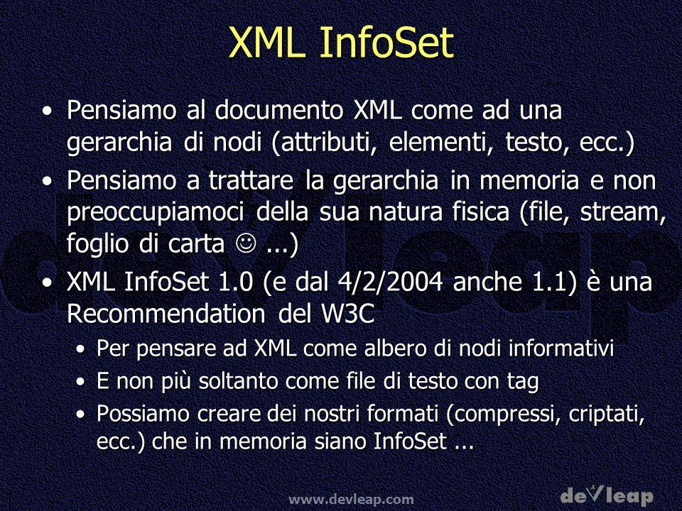 XML InfoSetPensiamo al documento XML come ad una gerarchia di nodi (attributi, elementi, testo, ecc.)