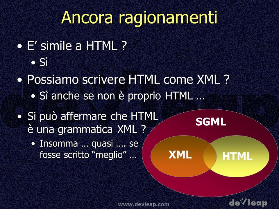 Ancora ragionamenti E' simile a HTML