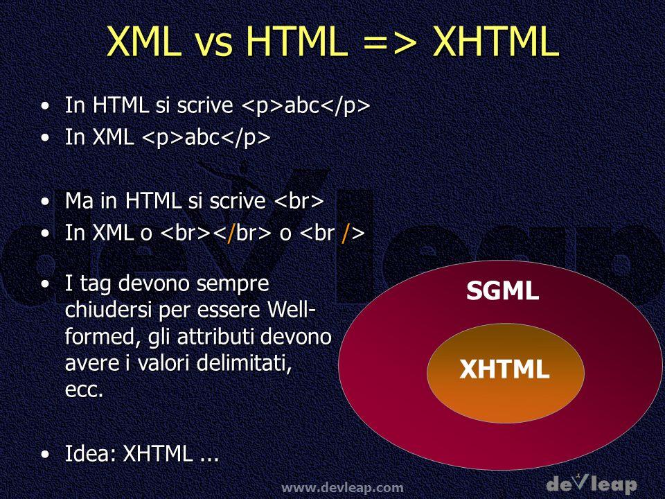 XML vs HTML => XHTML SGML XHTML
