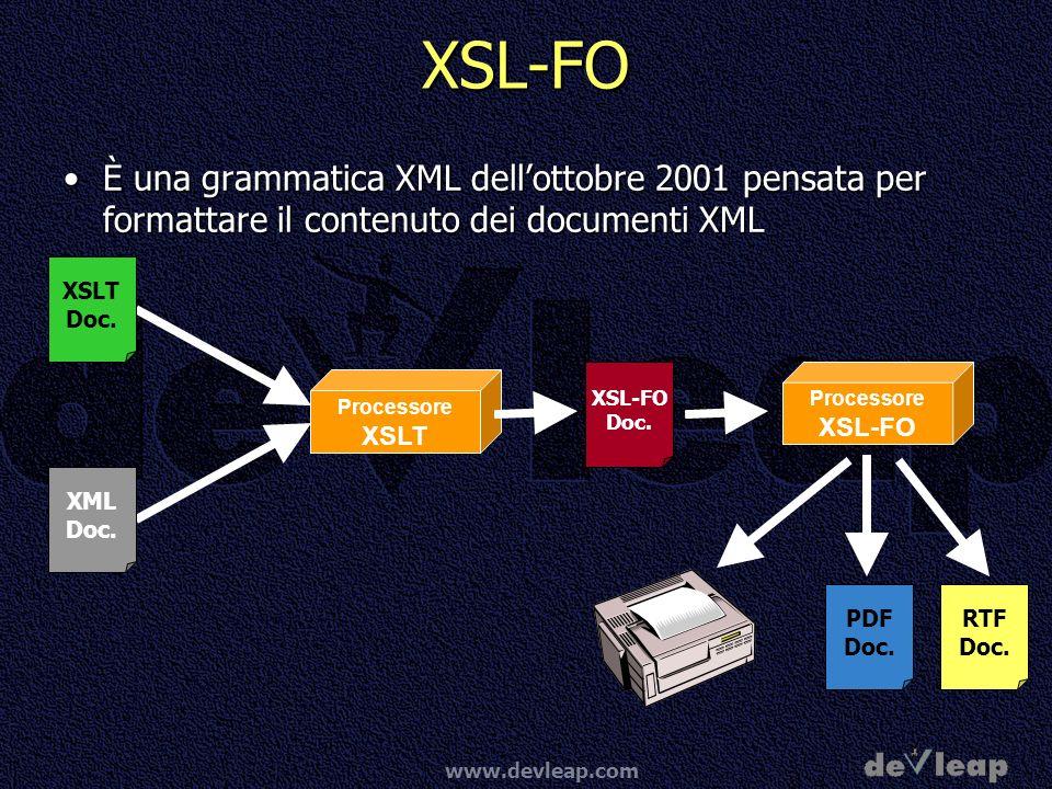 XSL-FO È una grammatica XML dell'ottobre 2001 pensata per formattare il contenuto dei documenti XML.