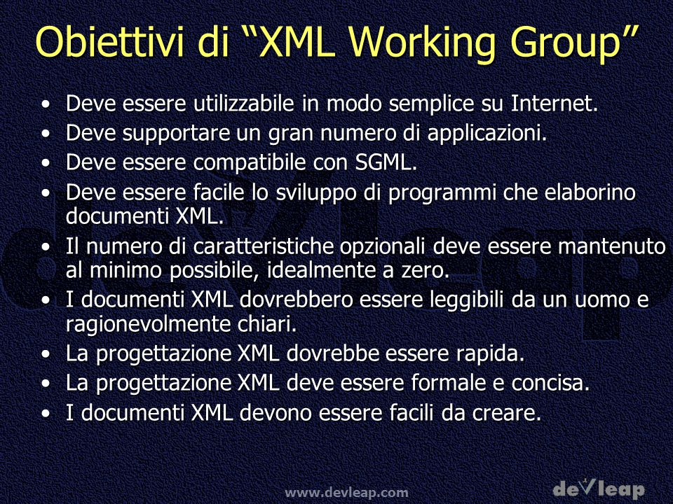 Obiettivi di XML Working Group