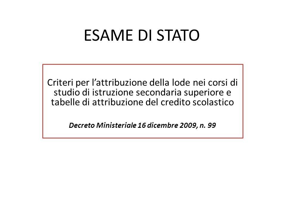 Decreto Ministeriale 16 dicembre 2009, n. 99