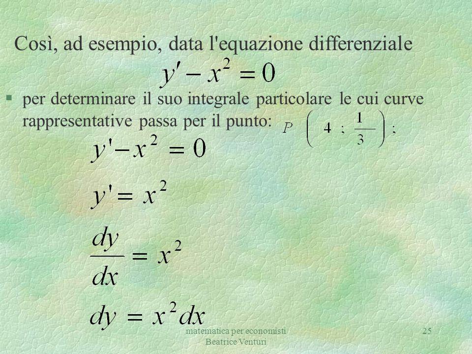 Così, ad esempio, data l equazione differenziale