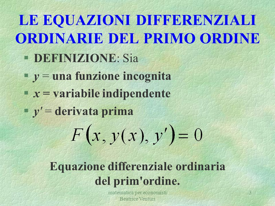LE EQUAZIONI DIFFERENZIALI ORDINARIE DEL PRIMO ORDINE