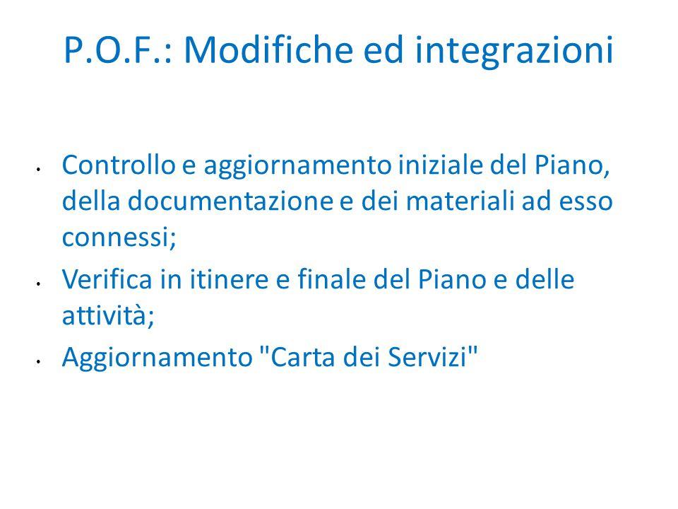 P.O.F.: Modifiche ed integrazioni