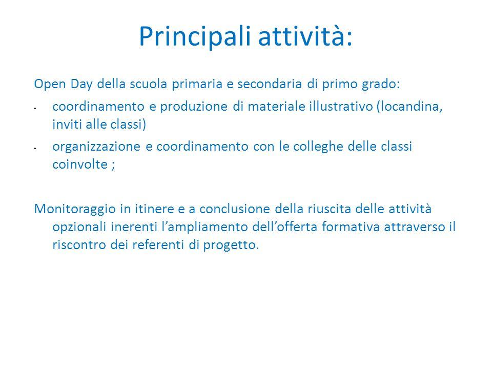 Principali attività: Open Day della scuola primaria e secondaria di primo grado: