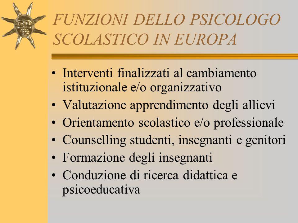 FUNZIONI DELLO PSICOLOGO SCOLASTICO IN EUROPA