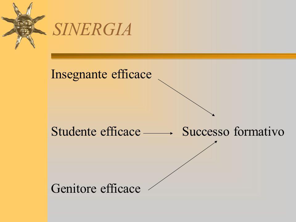 SINERGIA Insegnante efficace Studente efficace Successo formativo