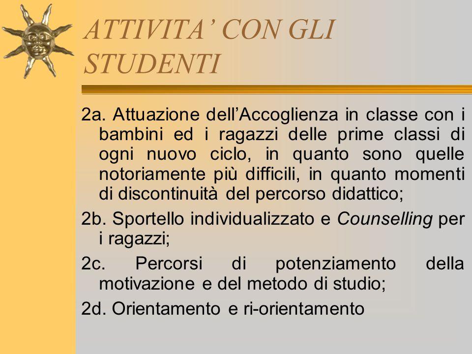ATTIVITA' CON GLI STUDENTI