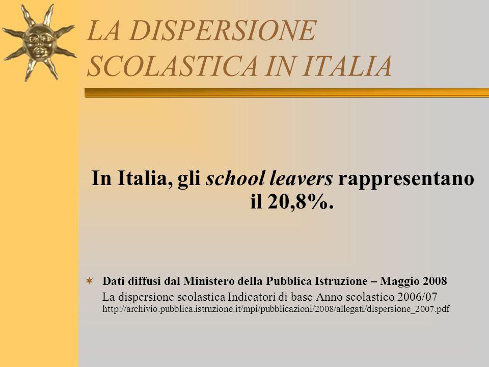 LA DISPERSIONE SCOLASTICA IN ITALIA