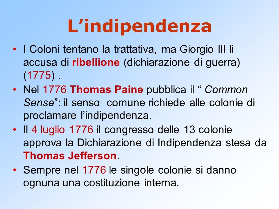 L'indipendenza I Coloni tentano la trattativa, ma Giorgio III li accusa di ribellione (dichiarazione di guerra) (1775) .