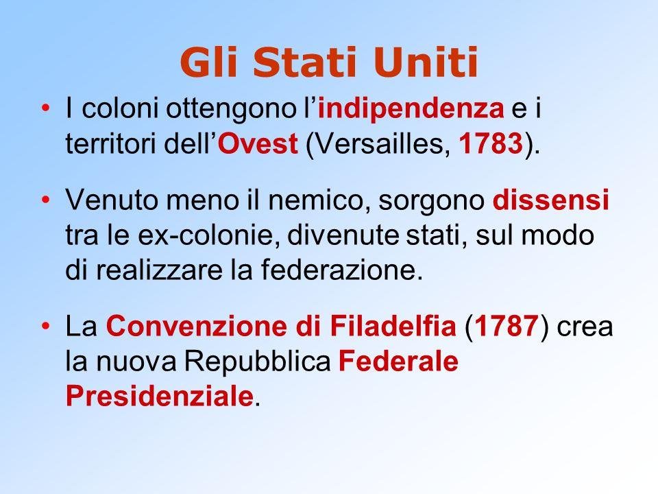 Gli Stati Uniti I coloni ottengono l'indipendenza e i territori dell'Ovest (Versailles, 1783).