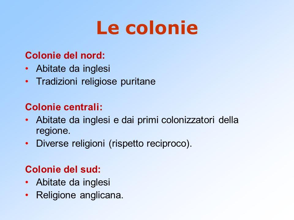 Le colonie Colonie del nord: Abitate da inglesi