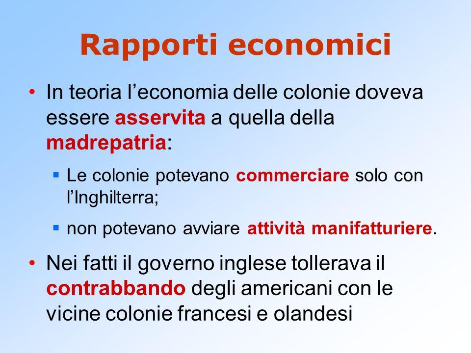 Rapporti economici In teoria l'economia delle colonie doveva essere asservita a quella della madrepatria: