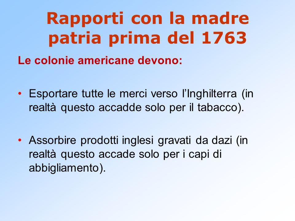 Rapporti con la madre patria prima del 1763
