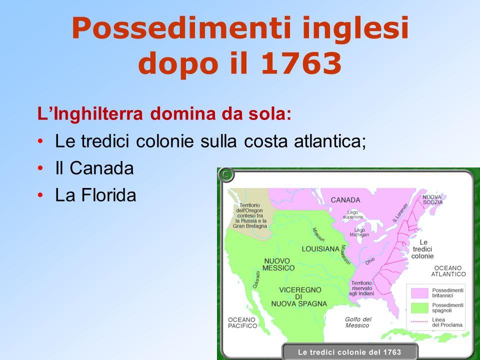 Possedimenti inglesi dopo il 1763