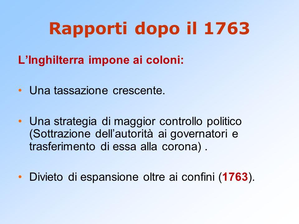 Rapporti dopo il 1763 L'Inghilterra impone ai coloni: