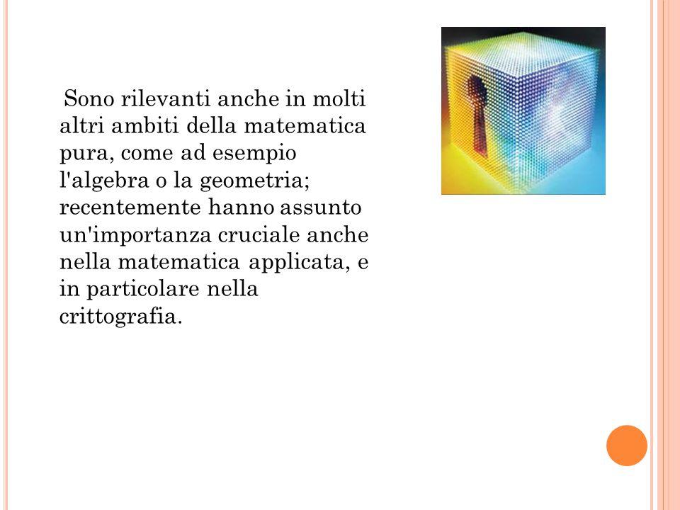Sono rilevanti anche in molti altri ambiti della matematica pura, come ad esempio l algebra o la geometria; recentemente hanno assunto un importanza cruciale anche nella matematica applicata, e in particolare nella crittografia.