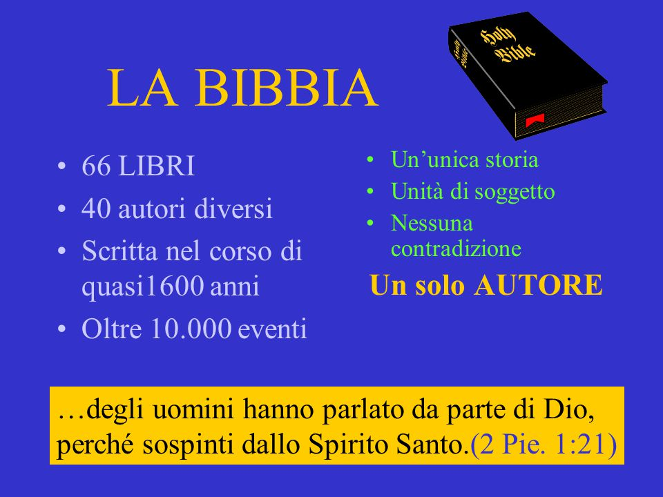 LA BIBBIA Un solo AUTORE 66 LIBRI 40 autori diversi