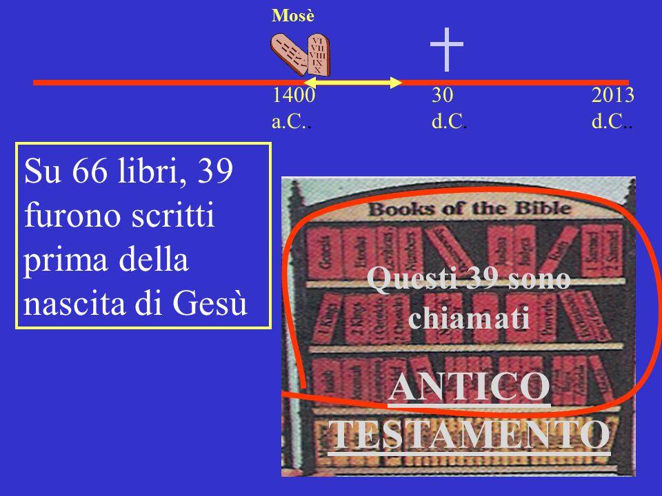 Mosè 1400 a.C.. 30 d.C. 2013 d.C.. Su 66 libri, 39 furono scritti prima della nascita di Gesù. Questi 39 sono chiamati.