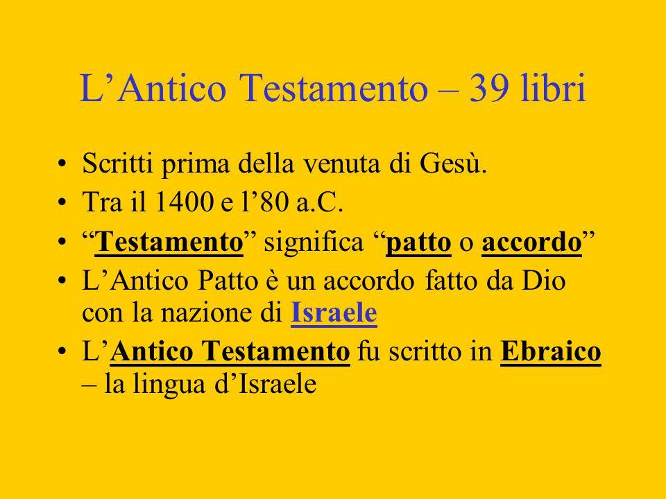 L'Antico Testamento – 39 libri