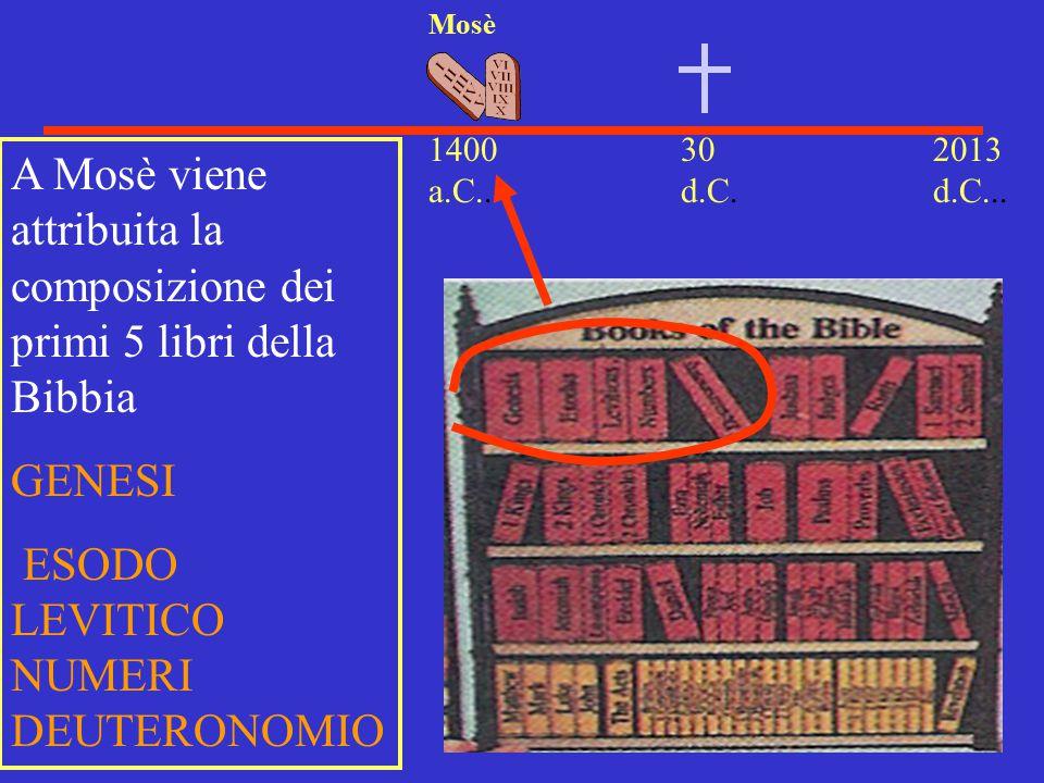 A Mosè viene attribuita la composizione dei primi 5 libri della Bibbia
