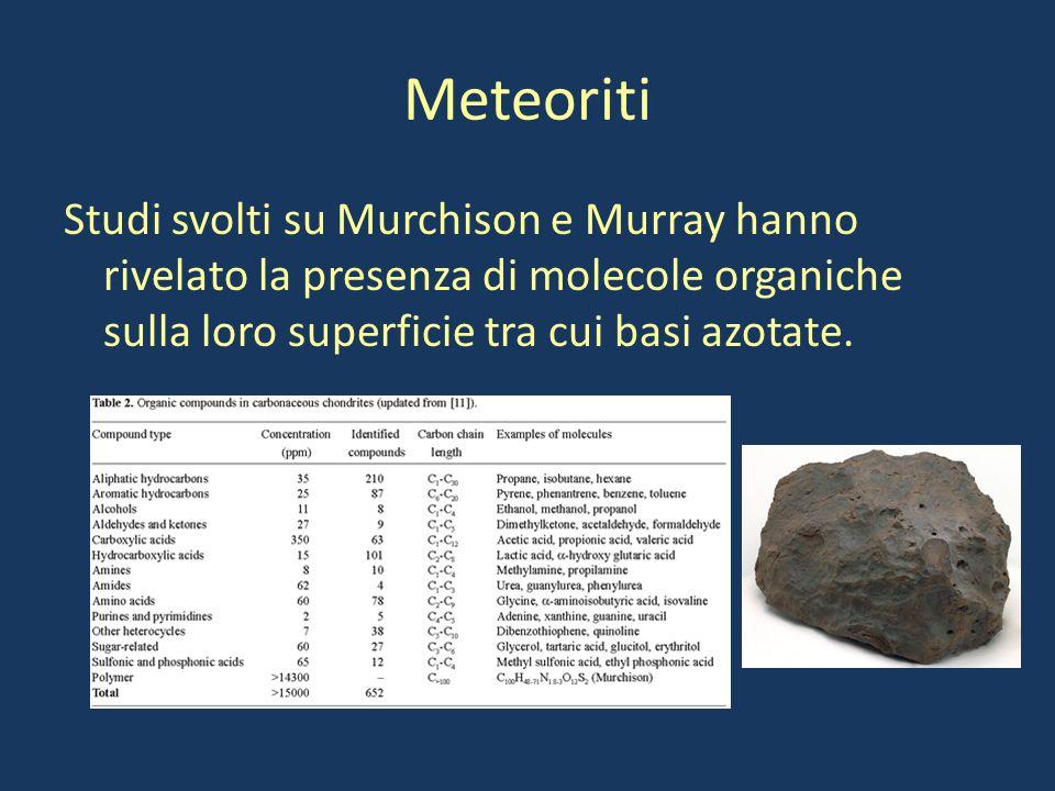 Meteoriti Studi svolti su Murchison e Murray hanno rivelato la presenza di molecole organiche sulla loro superficie tra cui basi azotate.