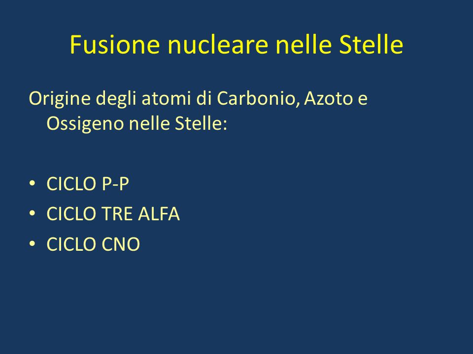 Fusione nucleare nelle Stelle