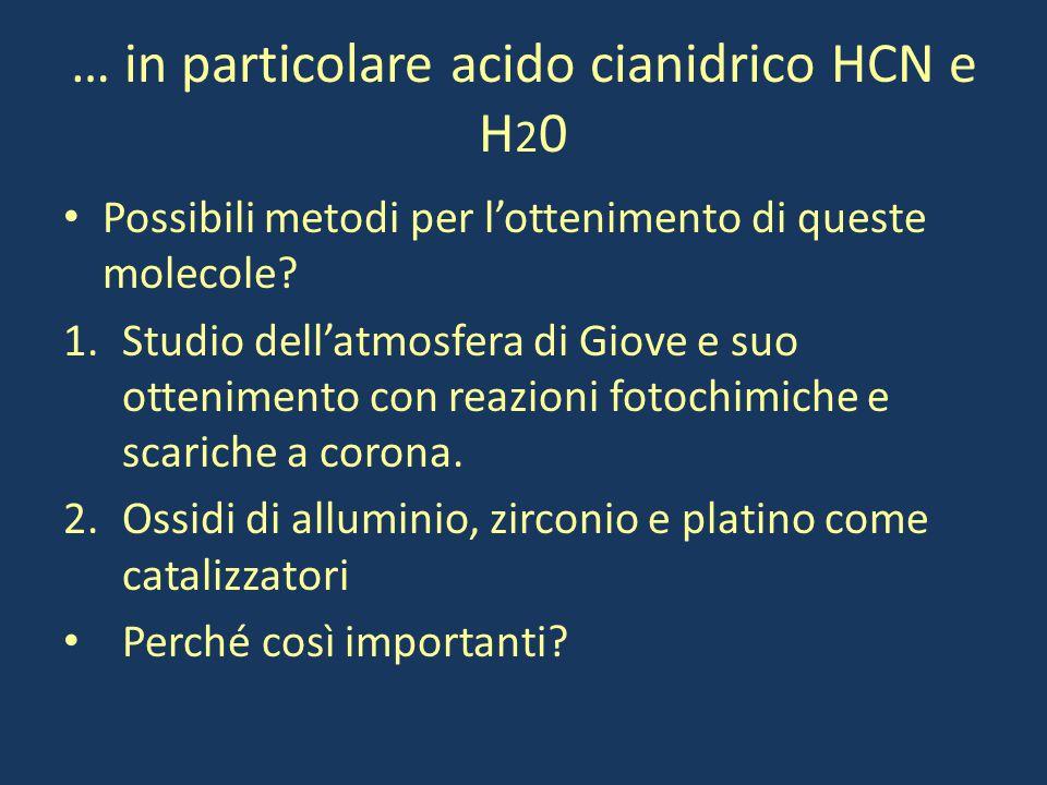 … in particolare acido cianidrico HCN e H20