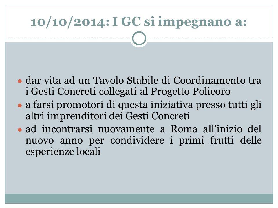 10/10/2014: I GC si impegnano a: dar vita ad un Tavolo Stabile di Coordinamento tra i Gesti Concreti collegati al Progetto Policoro.