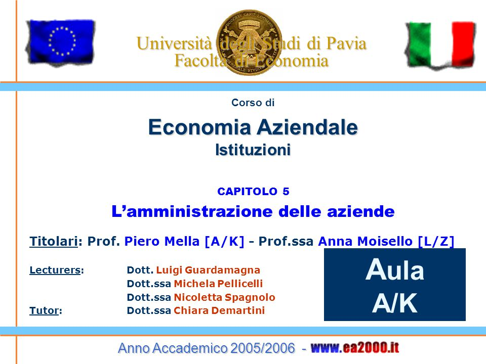 Università degli Studi di Pavia Facoltà di Economia