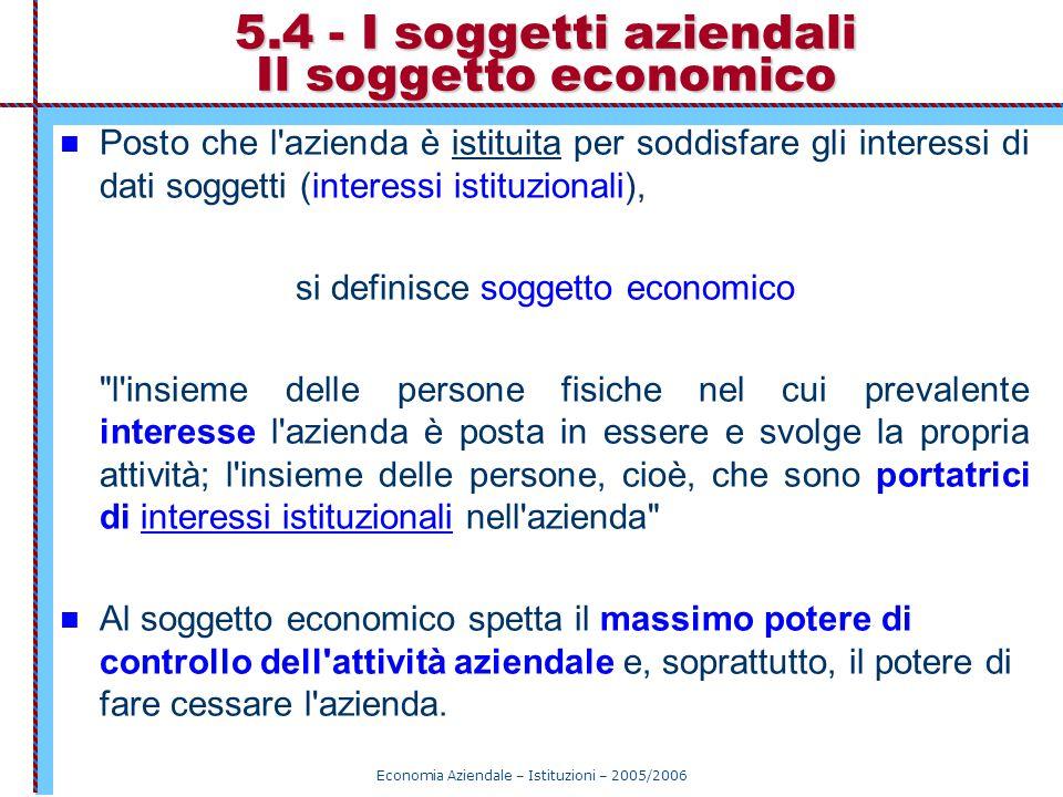 5.4 - I soggetti aziendali Il soggetto economico