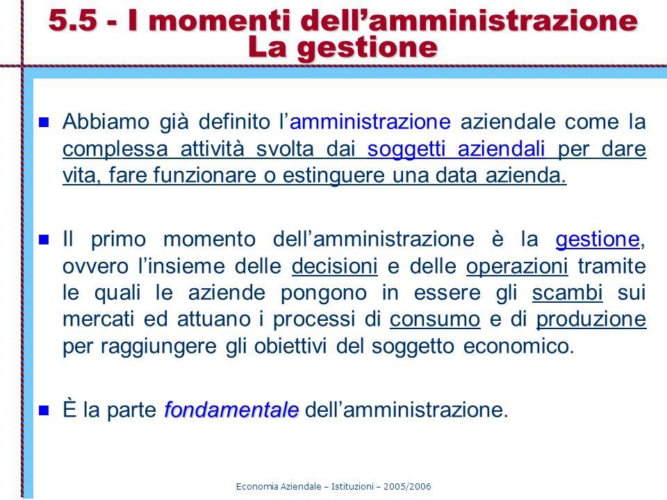 5.5 - I momenti dell'amministrazione La gestione