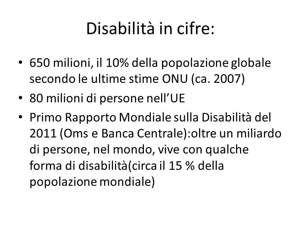 Disabilità in cifre: 650 milioni, il 10% della popolazione globale secondo le ultime stime ONU (ca. 2007)