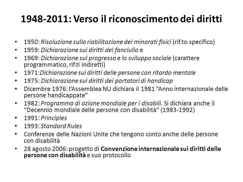 1948-2011: Verso il riconoscimento dei diritti