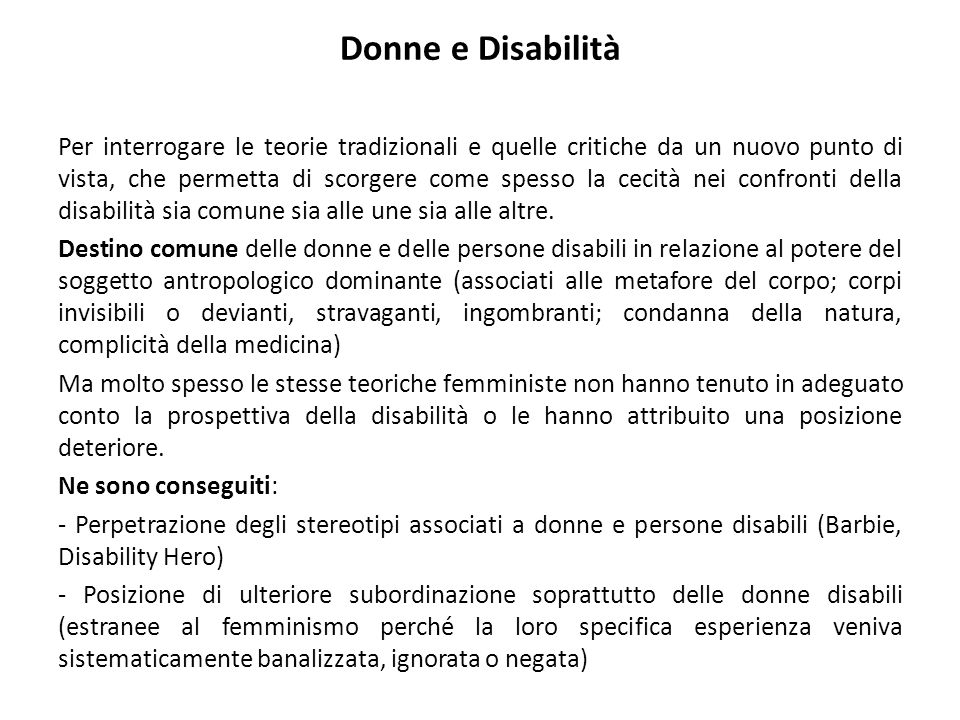 Donne e Disabilità