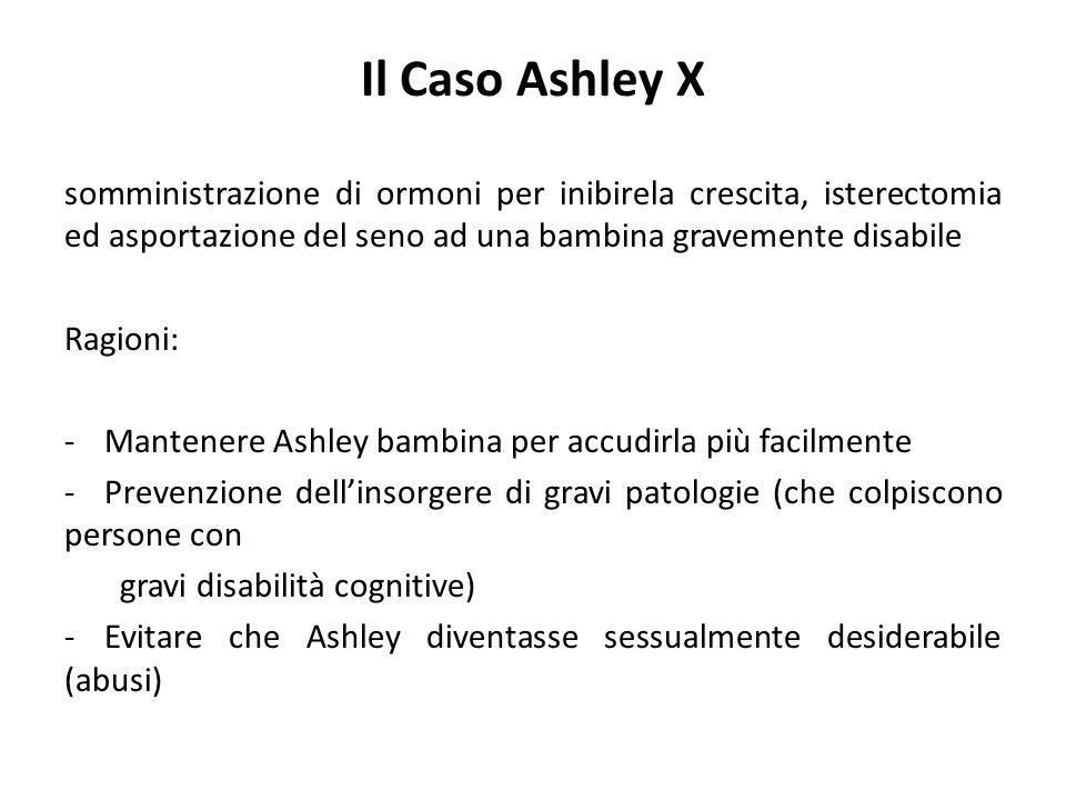 Il Caso Ashley X somministrazione di ormoni per inibirela crescita, isterectomia ed asportazione del seno ad una bambina gravemente disabile.