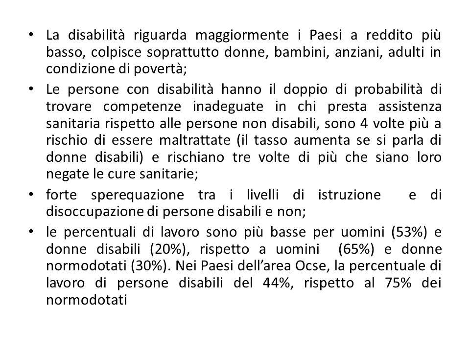 La disabilità riguarda maggiormente i Paesi a reddito più basso, colpisce soprattutto donne, bambini, anziani, adulti in condizione di povertà;