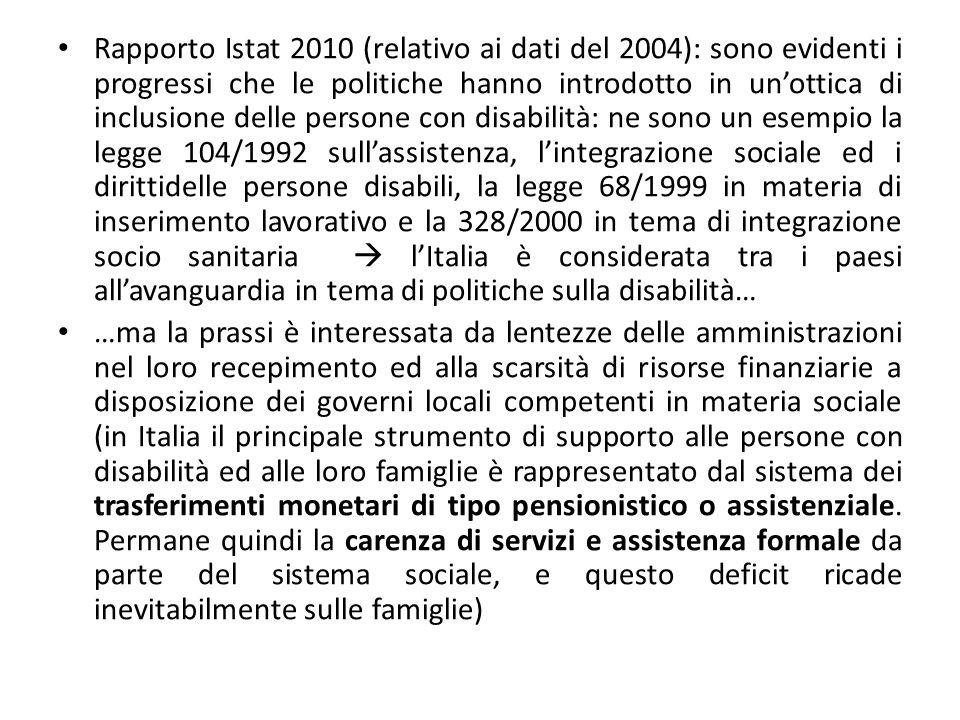 Rapporto Istat 2010 (relativo ai dati del 2004): sono evidenti i progressi che le politiche hanno introdotto in un'ottica di inclusione delle persone con disabilità: ne sono un esempio la legge 104/1992 sull'assistenza, l'integrazione sociale ed i dirittidelle persone disabili, la legge 68/1999 in materia di inserimento lavorativo e la 328/2000 in tema di integrazione socio sanitaria  l'Italia è considerata tra i paesi all'avanguardia in tema di politiche sulla disabilità…