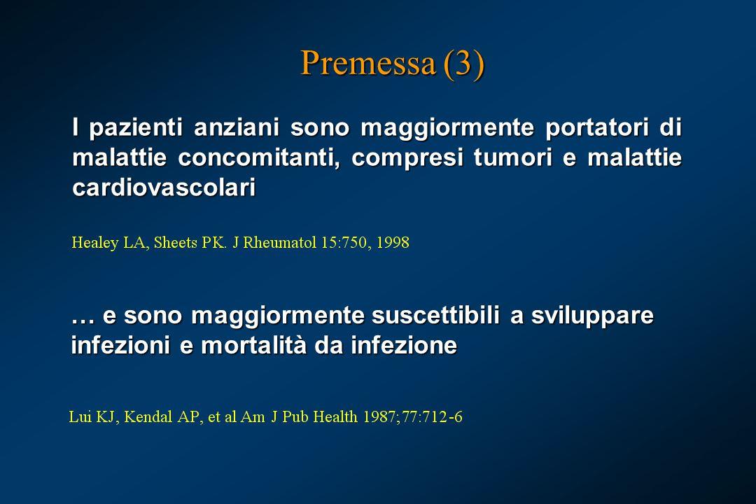 Premessa (3) I pazienti anziani sono maggiormente portatori di malattie concomitanti, compresi tumori e malattie cardiovascolari.