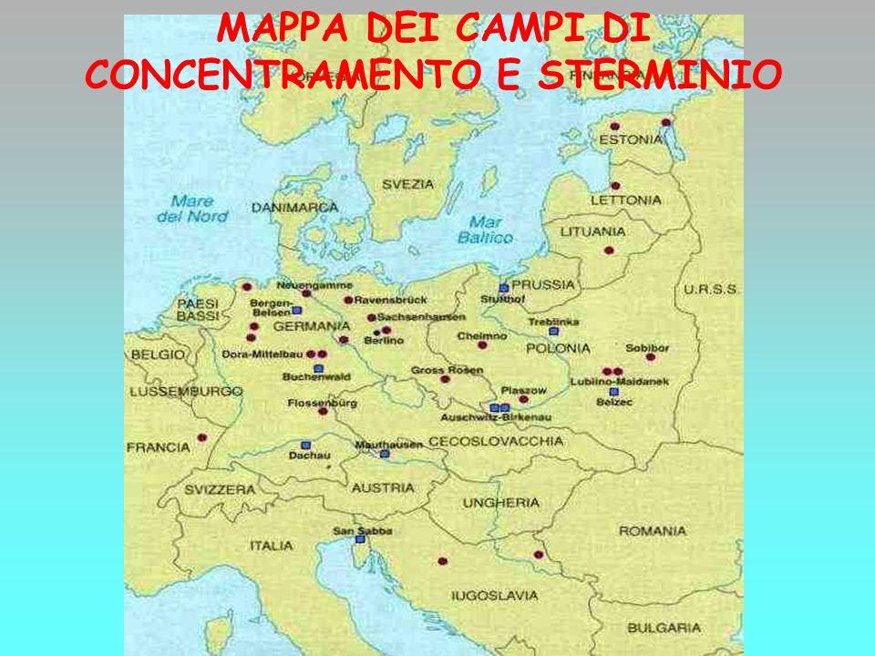 MAPPA DEI CAMPI DI CONCENTRAMENTO E STERMINIO