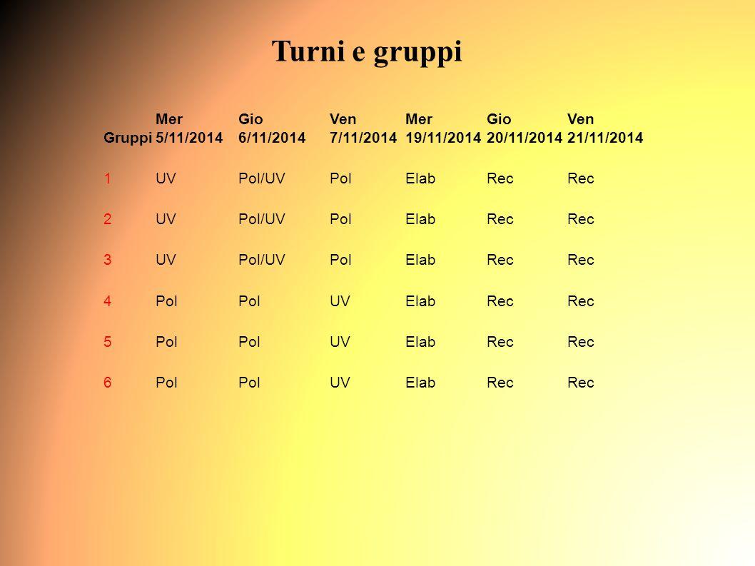 Turni e gruppi Gruppi Mer 5/11/2014 Gio 6/11/2014 Ven 7/11/2014