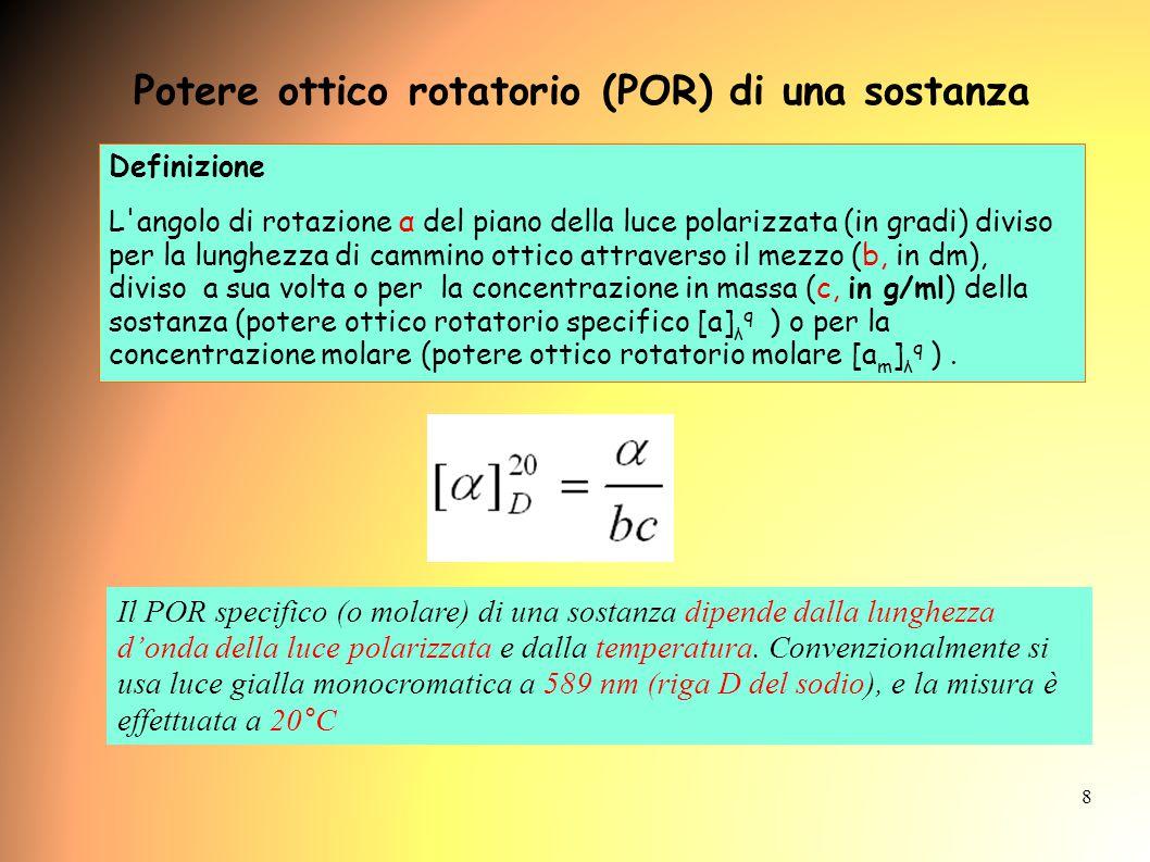 Potere ottico rotatorio (POR) di una sostanza