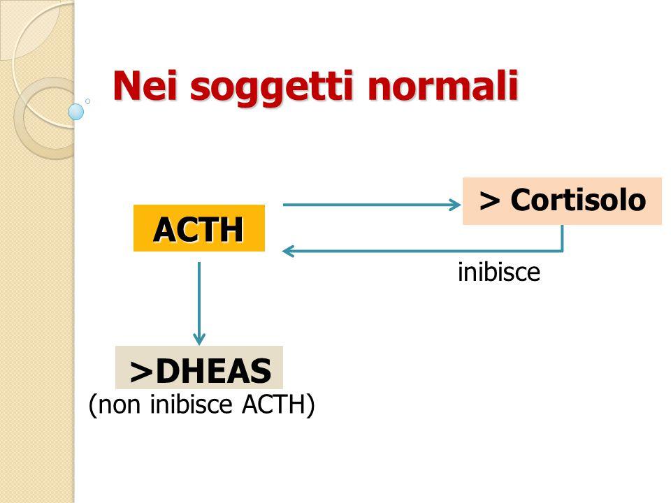 Nei soggetti normali ACTH >DHEAS > Cortisolo inibisce