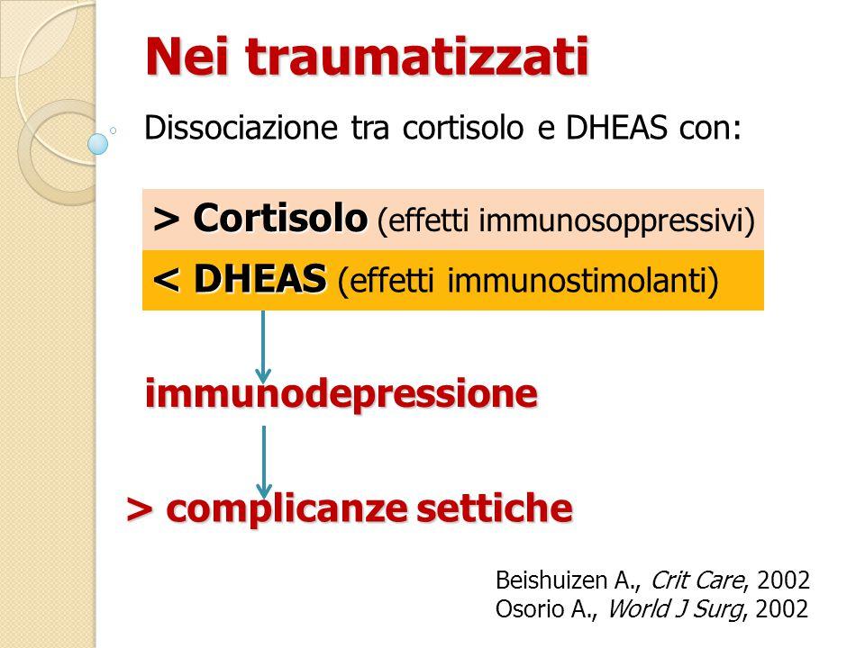Nei traumatizzati > Cortisolo (effetti immunosoppressivi)