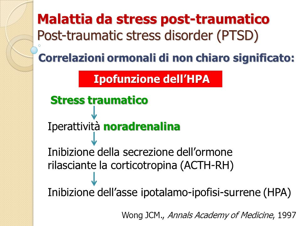Malattia da stress post-traumatico Post-traumatic stress disorder (PTSD)
